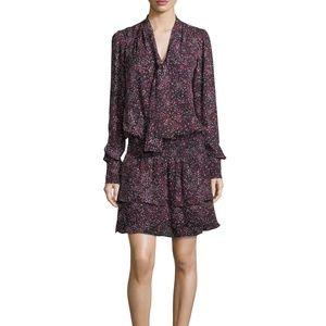 Parker Marybeth Tie-Neck Printed Silk Dress